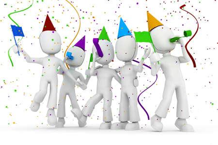 feste feiern: 3D Mann-Partei, isolated on white