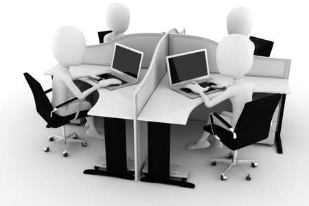 computer centre: 3d man, call center, isolated on white