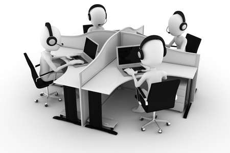call center office: 3d man, call center, isolated on white