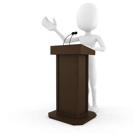 conferences: 3d man podium speech