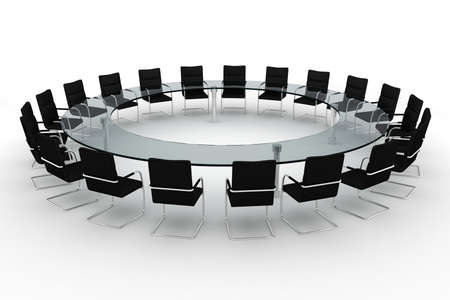 company board: 3d round conference room, isolated on white
