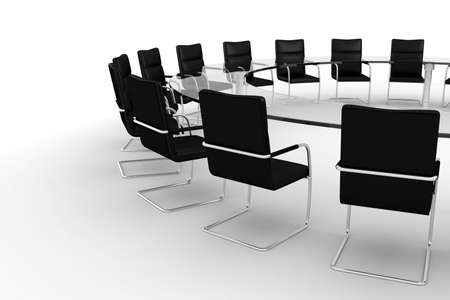 board room: 3d round conference room, isolated on white