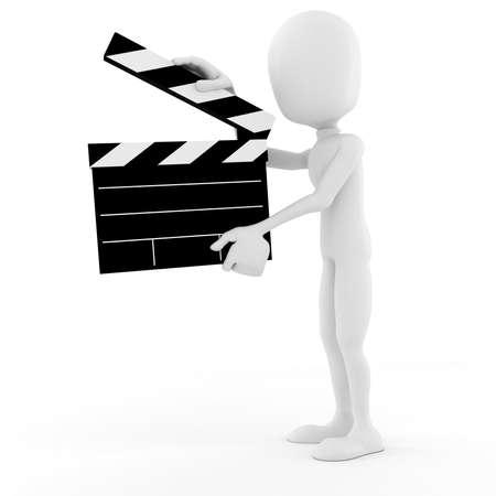 director de hombre 3D en el escenario, acción!  Foto de archivo - 8164803