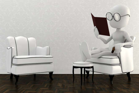 3d man resting in a chair and reading a book photo