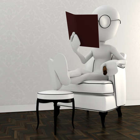 3d man resting in a chair and reading a book Stock Photo - 8164681