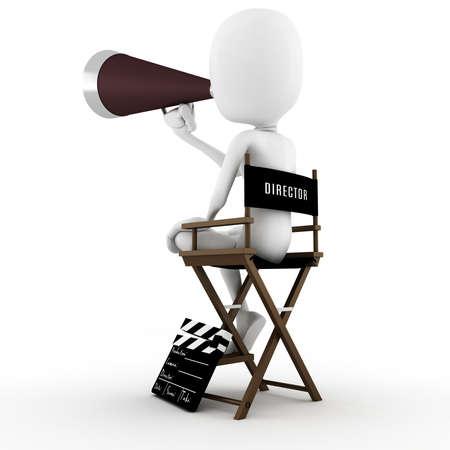 board of director: 3D direttore uomo sulla scena, azione!  Archivio Fotografico
