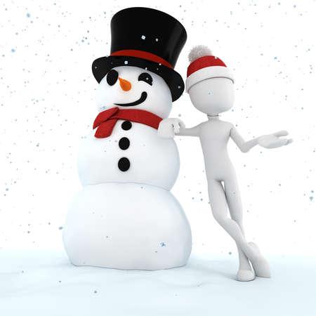 snow man: 3d man and snow man , merry christmas !
