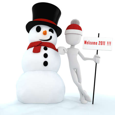 3d man and snow man ,Happy new Year!! photo