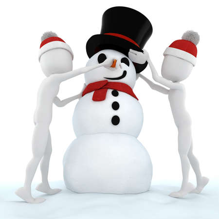 xmas crafts: 3d man and a funny snow man Stock Photo