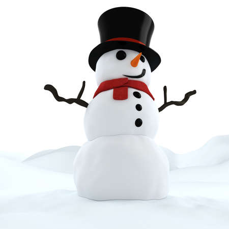 isolated on a white background: 3d funny snowman