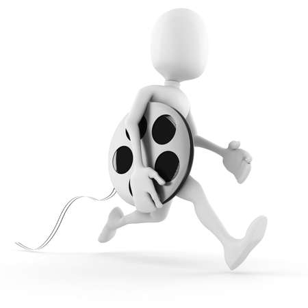 3d man running to bring the newest  film Stock Photo - 8164998