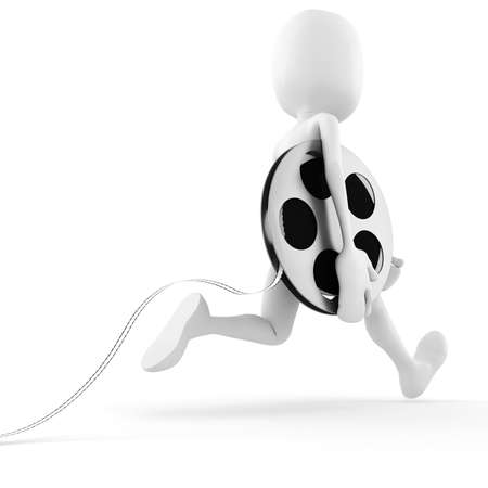3d man running to bring the newest reel roller film photo