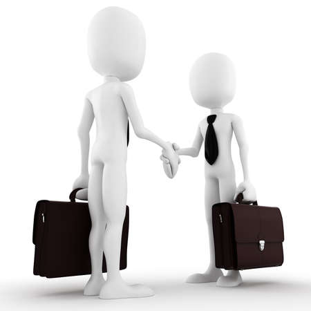 casual business team: 3d man businessman closing a deal
