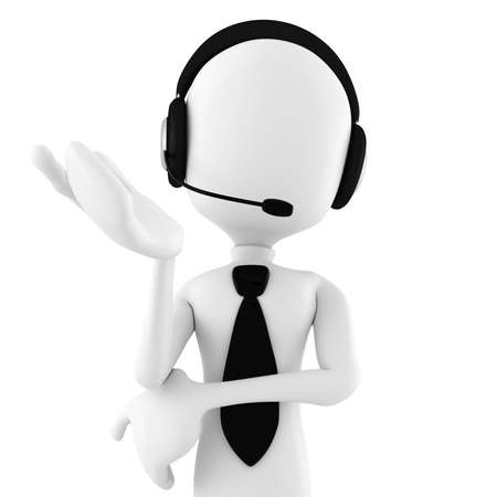3d man call center offering support photo