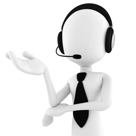 casual business team: 3d man call center offering support