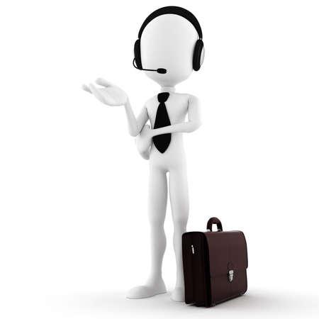 callcenter: 3d man business man offering support Stock Photo