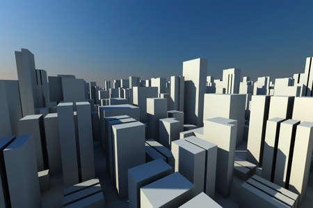 urban scene: 3d skyline of a crowd city, aerial view