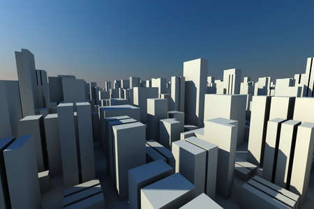 urban colors: horizonte 3D de una ciudad de la multitud, vista a�rea  Foto de archivo