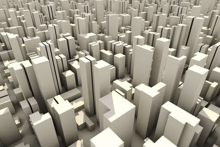 3d skyline of a crowd city, aerial view Stock Photo - 8164686
