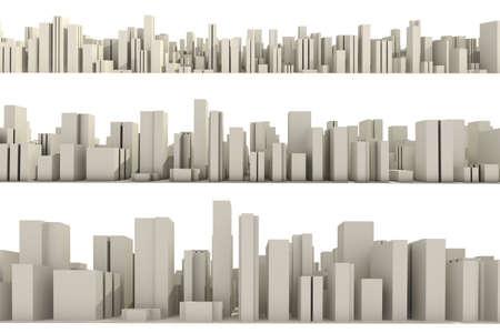 aerial city: 3d skyline of a crowd city, aerial view