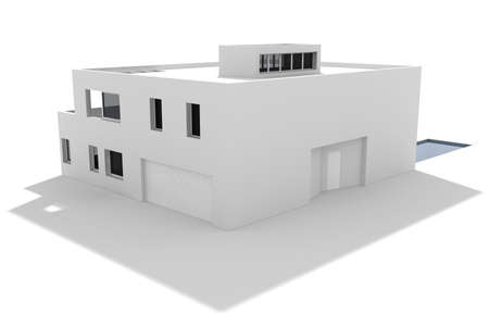 3d modern house, isolated on white Stock Photo - 8164631