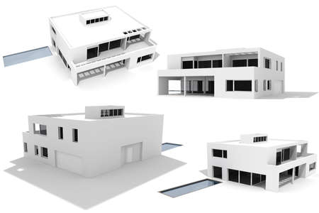 3d modern house, isolated on white photo