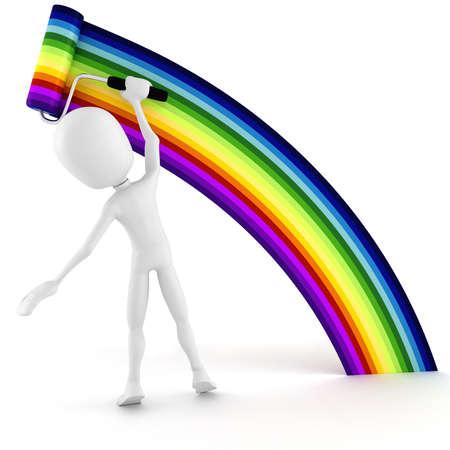 man painting: 3d man painting a rainbow Stock Photo
