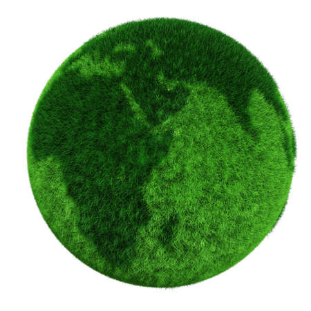 3d earth globe made of grass photo