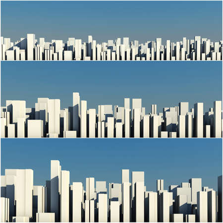 tall building: 3d skyline of a crowd city, aerial view