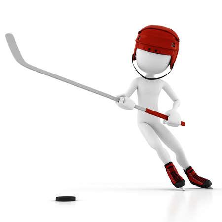 3d man hockey player photo