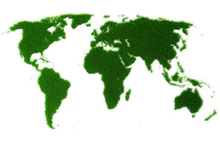 3d world map made of grass photo