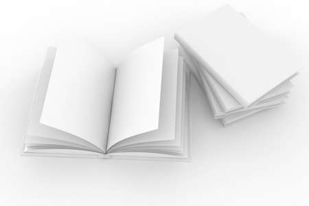 open concept: 3d books with blank cover and pages , isolated on white