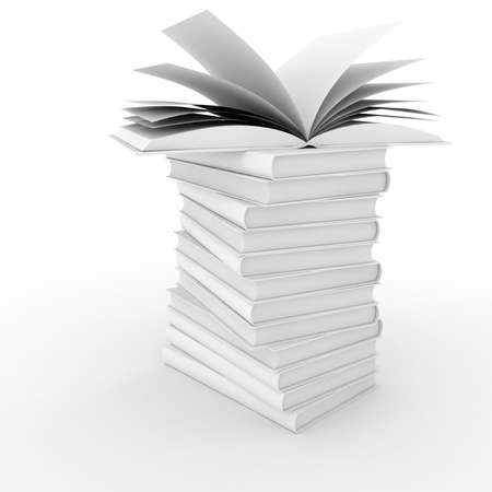 3d books with blank cover and pages , isolated on white Stock Photo - 8161300