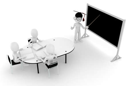 3d man classroom - teacher and students Stock Photo - 8475615