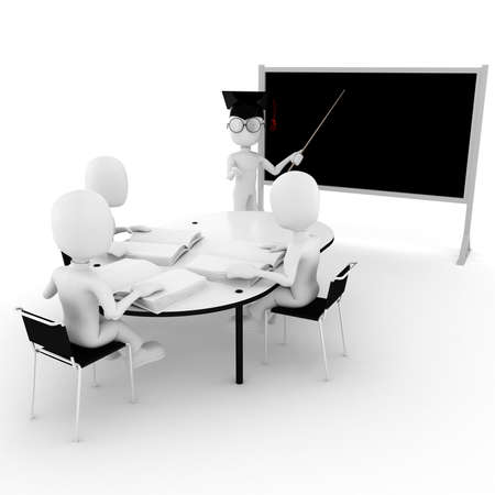 3d man classroom - teacher and students Stock Photo - 8475653