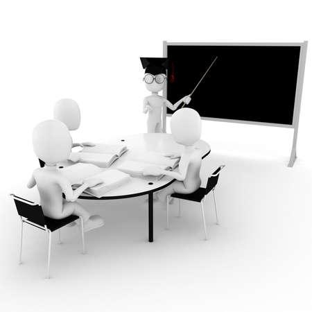 3d man classroom - teacher and students photo