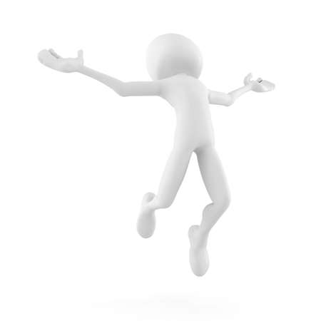 3d man jumping becouse he is so happy! - isolated on white Stock Photo - 8475565