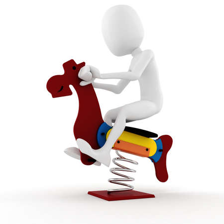 3d man playing with a wooden horse toy Stock Photo - 8475627