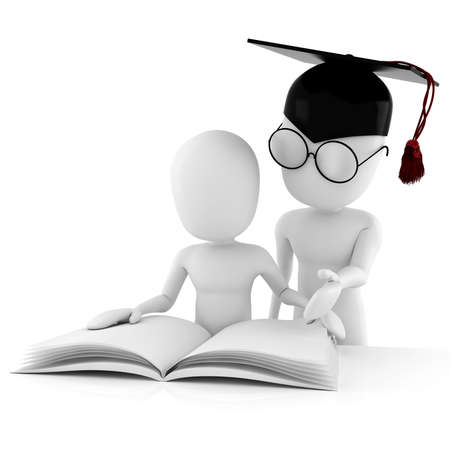 expertise: 3d man teacher and student studying toghether