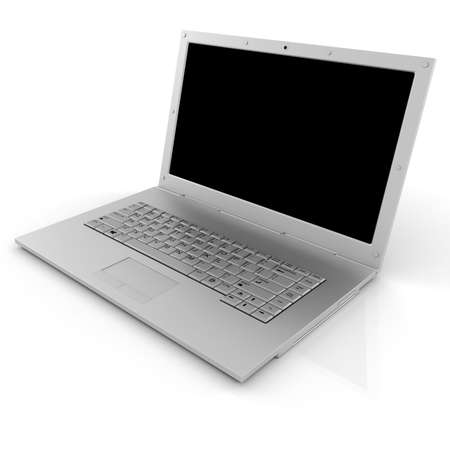 3d laptop isolated on white photo