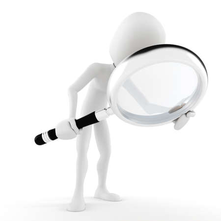 3d man with a big magnifier glass photo