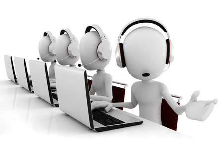 call center office: 3d man call center Stock Photo