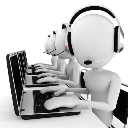 operators: 3d man call center Stock Photo