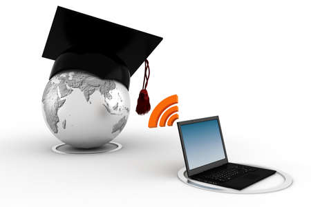 teach: 3d e-learning concept
