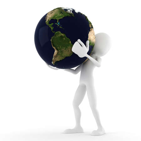 3d man holding the earth, isolated on white photo