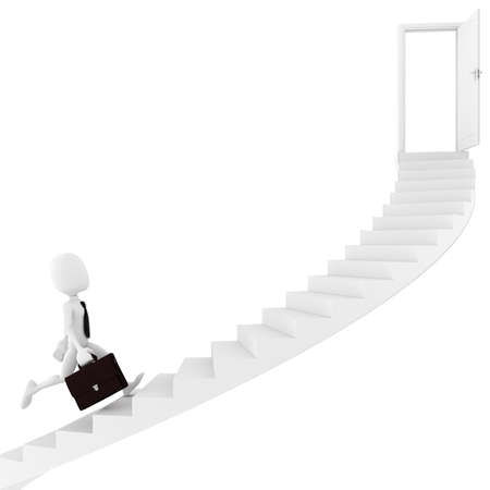 3d man running on a stair, finding the exit Stock Photo - 8475578