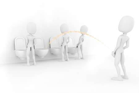urinating: 3d man for world piss:)) Stock Photo
