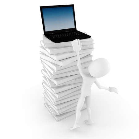 3d man trying to reech for a laptop Stock Photo - 8475648