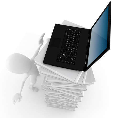 3d man trying to reech for a laptop Stock Photo - 8475666