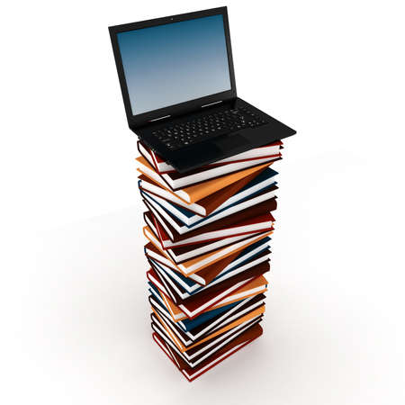 living wisdom: 3d laptop on top of a pile of books